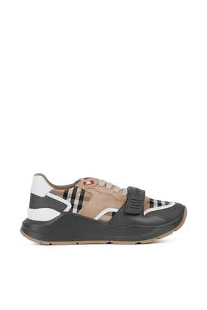 Ramsey Multi Plaid Sneakers in Brown and Grey BURBERRY