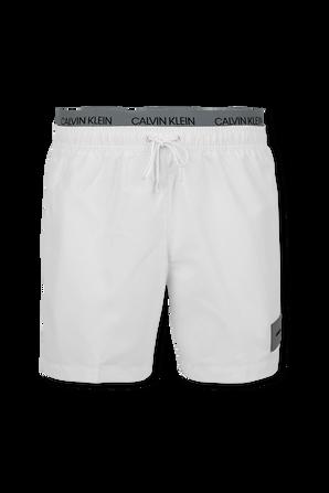 Double Waistband Swim Shorts in White CALVIN KLEIN