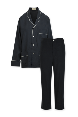 Navy Laurent Unisex Washed Silk Pyjama OLIVIA VON HALLE