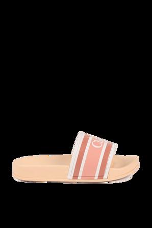 מידות 28-35 כפכפי סליידס לוגו בגוון אפרסק CHLOE KIDS