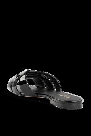 Tribute Flat Leather Sandals in Shiny Black SAINT LAURENT