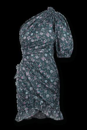 Esthera Flower Print Mini Dress in Green and Pink ISABEL MARANT