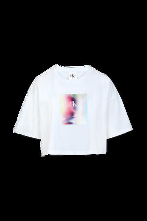 Pride - Cropped Logo -T-Shirt in White CALVIN KLEIN