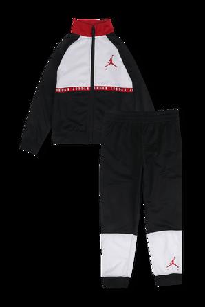 גילאי 4-7 סט מכנסיים וסווטשירט מרוכסן עם לוגו בצבעי שחור ולבן JORDAN