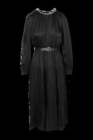 שמלת מידי עם צווארון שרשרת בצבע שחור MICHAEL KORS
