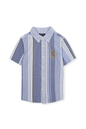 חולצת פסים כחולה מכופתרת עם רקמת לוגו POLO RALPH LAUREN KIDS