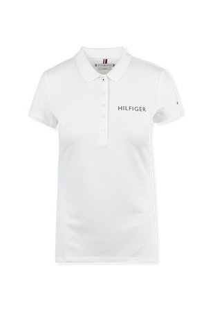 Crystal Logo Polo Shirt in White TOMMY HILFIGER