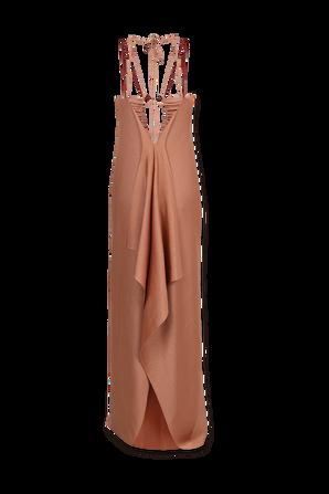 Ruched-Neck Dress in Rose Nude VICTORIA BECKHAM