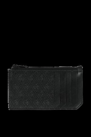 Zipped Card Case in Black  Leather SAINT LAURENT