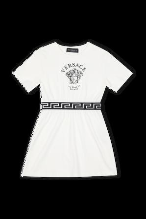 גילאי 8-14 שמלת מדוזה עם דיטייל לוגו בגומי VERSACE KIDS