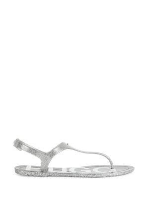 High-Gloss Thong Sandals in Shiny Silver HUGO