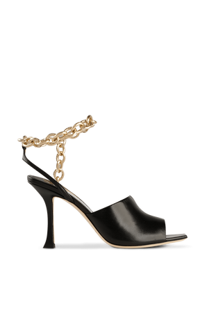 Black Sae 90 Sandals with Golden Chain JIMMY CHOO