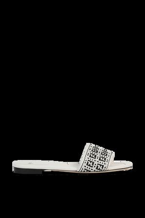 Woven Raffia FF Sandals in White and Black FENDI