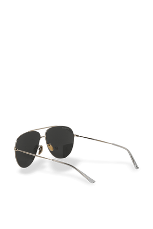 Pilot Sunglasses in Grey Metal BALENCIAGA