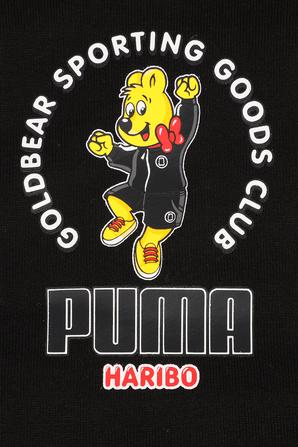 גילאי 3-16 סווטשירט קפוצ'ון שחור עם דפוס הדוב של הריבו PUMA KIDS