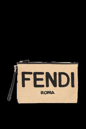 Woven Raffia Clutch Bag in Beige and Black FENDI