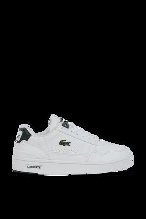 מידות 27-31 נעלי סניקרס לבנות עם נגיעות ירוקות ולוגו רקום LACOSTE KIDS