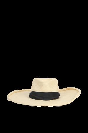 Wide Straw Hat in Beige and Black YOSUZI