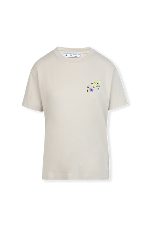 Check Floral Tee in Light Grey OFF WHITE