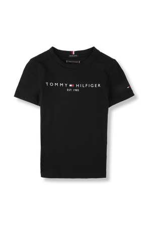 גילאי 8-16 חולצת לוגו אייקוני בשחור TOMMY HILFIGER KIDS