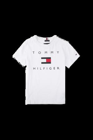 גילאי 2-7 חולצת לוגו דגל בלבן TOMMY HILFIGER KIDS