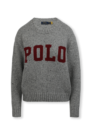 Intarsia Knit Logo Jumper In Grey POLO RALPH LAUREN
