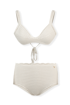 Two-Piece Crochet Swimsuit in Ivory VALENTINO