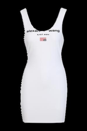 שמלת מיני בגזרת סלים בצבע לבן ALEXANDER WANG