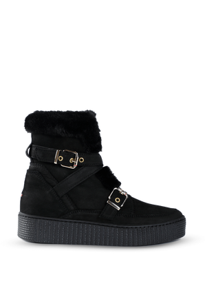 Leather Mix Warm Lined Booties in Black TOMMY HILFIGER