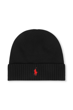 Merino Wool Logo Hat in Black POLO RALPH LAUREN
