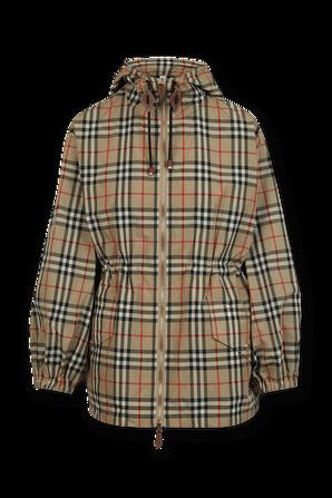 Plaid Zip Coat in Brown and Black BURBERRY
