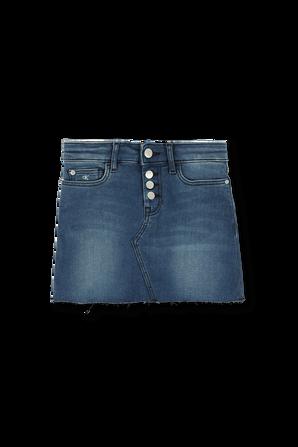 גילאי 4-16 חצאית ג'ינס בשטיפה כחולה עם שפשופים CALVIN KLEIN