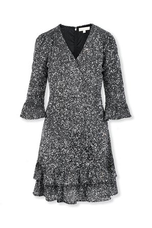 Sequined Stretch Mesh Ruffled Mini Dress in Silver MICHAEL KORS
