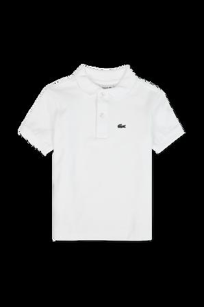 גילאי 2-16 חולצת פולו בלבן עם פאץ' לוגו LACOSTE KIDS