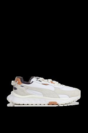 Wild Rider Leather Sneakers In White And Cream PUMA