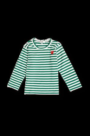 גילאי 2-6 חולצת פסים בירוק עם מיני לוגו COMME des GARCONS KIDS