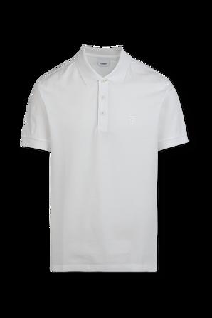 Monogram Motif Cotton Pique Polo Shirt in White BURBERRY