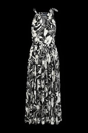 Floral Crepe Halter Dress Black and White POLO RALPH LAUREN