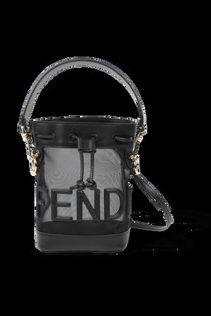 Mon Tresor Black Leather and Mesh Mini Bag FENDI