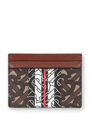 Monogram Stripe E canvas Card Case BURBERRY