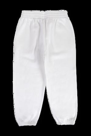 גילאי 4-8 מכנסי ג'וגר עם לוגו בצבע לבן BALENCIAGA KIDS