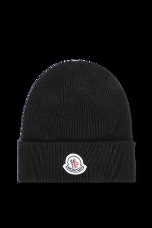 כובע צמר עם תגית ממותגת בגוון שחור MONCLER