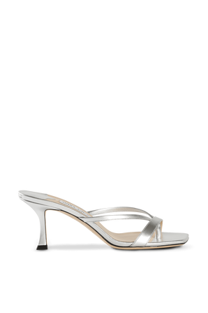Maelie 75 Thong Mules in Silver Leather JIMMY CHOO