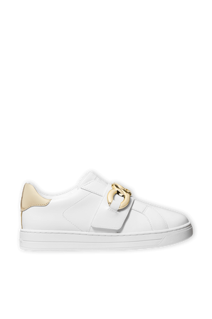 Kenna Chain Link Leather Sneaker In White MICHAEL KORS