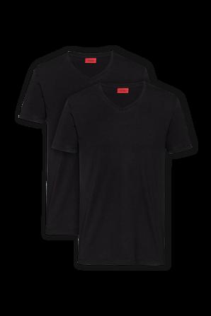 2P Cotton V Shirt in Black HUGO