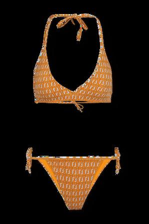 Bikini Set With Orange and White Jacquard Motif FENDI