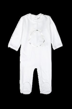 גילאי NB-9 חודשים סט אוברול וכובע בצבע לבן MONCLER KIDS