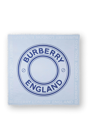 Print Silk and wool Square Scarf in Light Blue BURBERRY