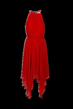Pleated Georgette Halter Dress in Crimson MICHAEL KORS