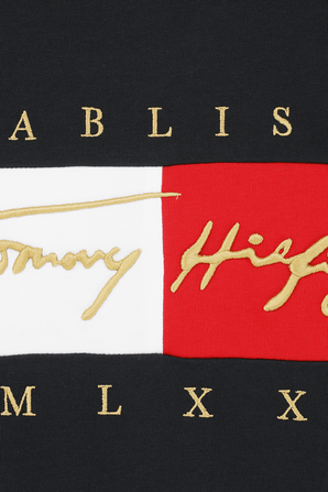 Signature Logo Embroidey T-Shirt in Navy TOMMY HILFIGER